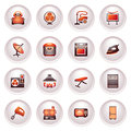 Home appliances, set . Black red series. Royalty Free Stock Images