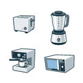 Home appliances toaster blender coffee maker microwave ov set of four cartoon vector icons of a and oven Stock Images