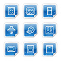 Home appliances web icons, blue sticker series Royalty Free Stock Photo