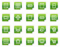 Home appliances web icons, green sticker series Stock Images