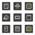 Home appliances web icons, grey square buttons Royalty Free Stock Image