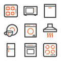 Home appliances web icons, orange and gray contour Stock Photos