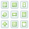 Home appliances web icons, white square buttons Stock Photos