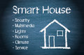 Home automation concept illustration of a smart house control on a blackboard with the words security multimedia lights rooms Stock Photography