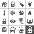 Home automation control systems icons smart and smart house simplus series vector Stock Images