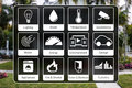 Home automation icons to control a smart home like light, water, surveillance, energy, smoke detection, motion sensors Royalty Free Stock Photo