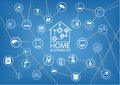 Home automation infographic to show the connectivity of home devices via internet things as a illustration Stock Photography
