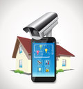 Home automation mobile phone integrated with cctv Stock Images