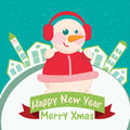 Home background with snowman happy new year greeting card Royalty Free Stock Images
