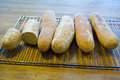 Home baked baguettes tasty bread cooling off Royalty Free Stock Images