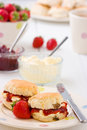 Home-baked scones strawberry jam, clotted cream. Royalty Free Stock Photo