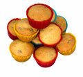 Home baking, small cakes, cupcakes isolated Stock Photography