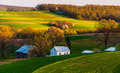 Home and barn on the farm fields and rolling hills of southern york county pa pennsylvania Stock Photography