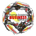 Home based business thought cloud sphere brainstorming ideas words in a to illustrate new opportunities to succeed with self Royalty Free Stock Image