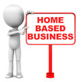 Home based business word on a board with little man standing by and pointing towards the text in red Stock Image