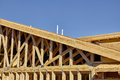 Home building construction carpentry gable roof framing detail Royalty Free Stock Photo