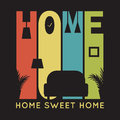 Home card with apartment icons, t-shirt graphics Royalty Free Stock Photo