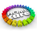 Home care words d letters health therapy hospice service in surrounded by houses to illustrate services for patients staying at Stock Photo