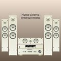 Home cinema speker system vector speaker detalized set Stock Photos