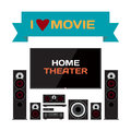 Home cinema system home theater flat vector illustration for mu music lovers and film fans tv loudspeakers player receiver Stock Photography