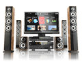 Home cinemar system tv oudspeakers player and receiver isol on white d Royalty Free Stock Photos