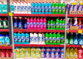Home cleaning products shelf in a supermarket Royalty Free Stock Photo