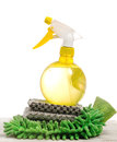 Home cleaning tools cleansing with duster and sprayer Royalty Free Stock Photo