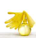 Home cleaning tools yellow sprayer and plastic glove for houswork Stock Images