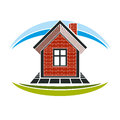 Home conceptual illustration, vector simple house constructed wi Royalty Free Stock Photo