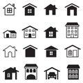 Home condominium tower apartment icons set vector illustration graphic design Royalty Free Stock Photos