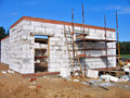 Home construction the building from white block Royalty Free Stock Photo