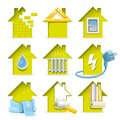 Home construction icons all stages of the of a modern house in the laconic and capacious Royalty Free Stock Photo