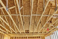 Home construction rafter roof truss framing carpentry Royalty Free Stock Photo