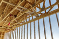 Home construction rafter roof truss gable framing carpentry Royalty Free Stock Photo