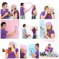 Home decorating, young couple Royalty Free Stock Photo