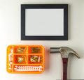 Home decoration frame equipment. Blank Black frame with blank copy space. Royalty Free Stock Photo