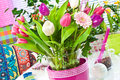 Home decoration springtime flowers with tulips Stock Photo