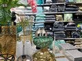 Home Decorations In Decorations Store. Modern textile shop for towels and interior decor.
