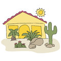 Home with desert landscaping an image of a Stock Image