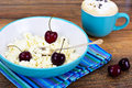 Home Dietary Fat Cottage Cheese Beaded Curd with Cherries Royalty Free Stock Photo