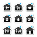 Home family icons set house black and blue labels isolated on white Stock Images