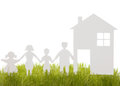 Home and family from a paper cut on the grass isolated white Stock Image