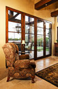 Home family room with large doors to patio Royalty Free Stock Photo