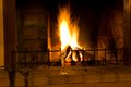 Home fireplace burning fire in Stock Photos