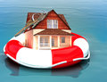 Home floating on a life preserver. Royalty Free Stock Photo