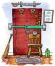 Home front door security cartoon illustration of with many locks and weapons Royalty Free Stock Images