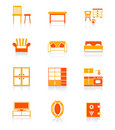 Home furniture icons | JUICY series Stock Photos