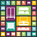 Home furniture icons set.Houses equipment Royalty Free Stock Photo