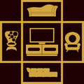 Home furniture icons set.Houses equipment