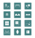 Home furniture icons | TEAL Royalty Free Stock Photo